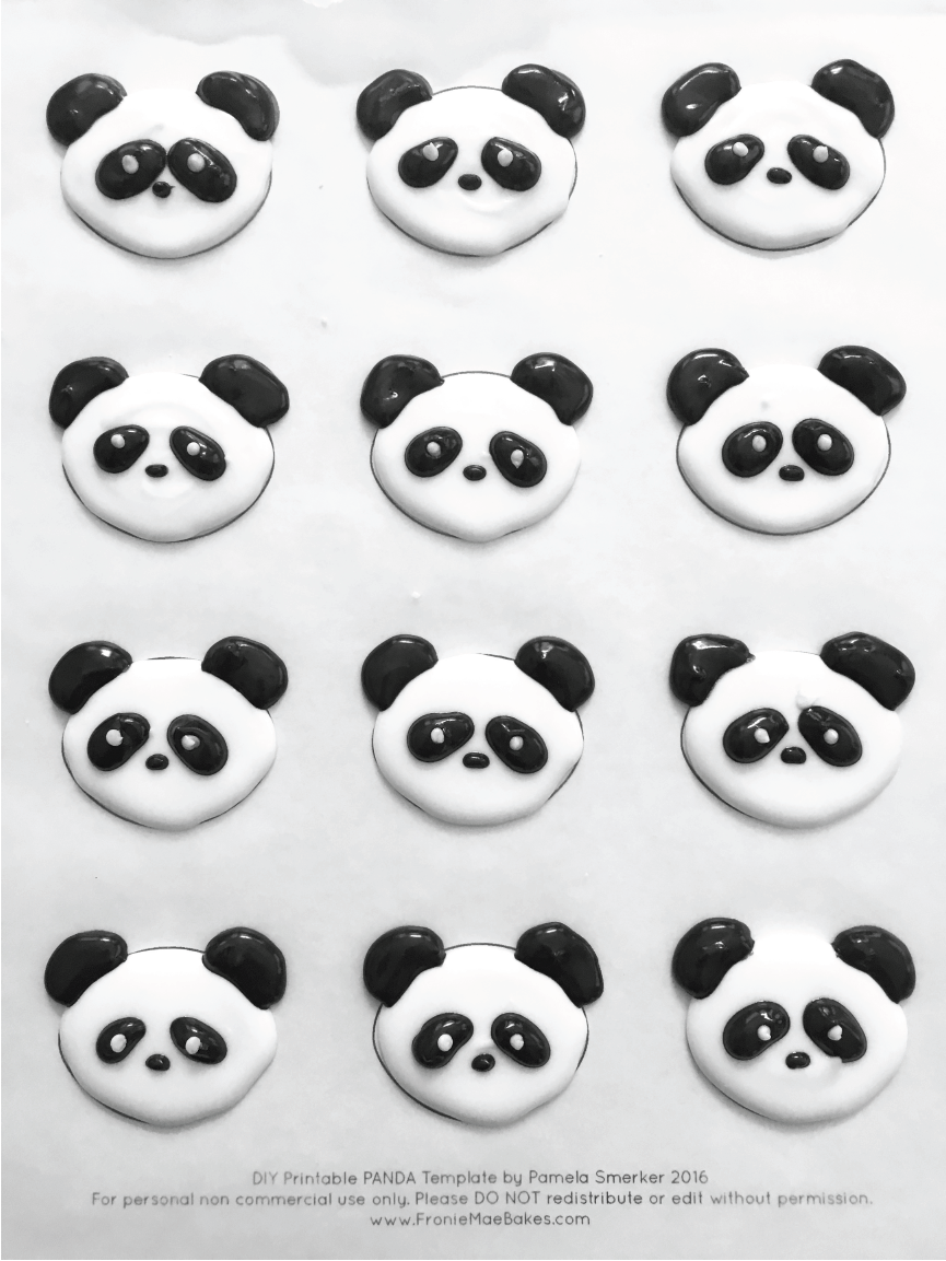 Make these Royal Icing Panda Cupcake Toppers ahead of time with Free Printable Template found on www.froniemaebakes.com