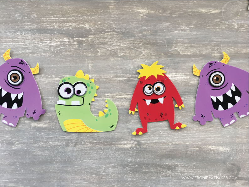 Step Three... Create this cute Monster Banner in a few easy steps. www.FronieMaeBakes.com