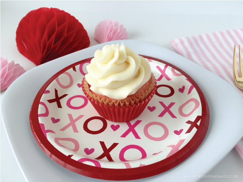 These Easy To Make Super Moist Cherry Cupcakes are perfect for Valentine's Day. Find the recipe at www.FronieMaeBakes.com