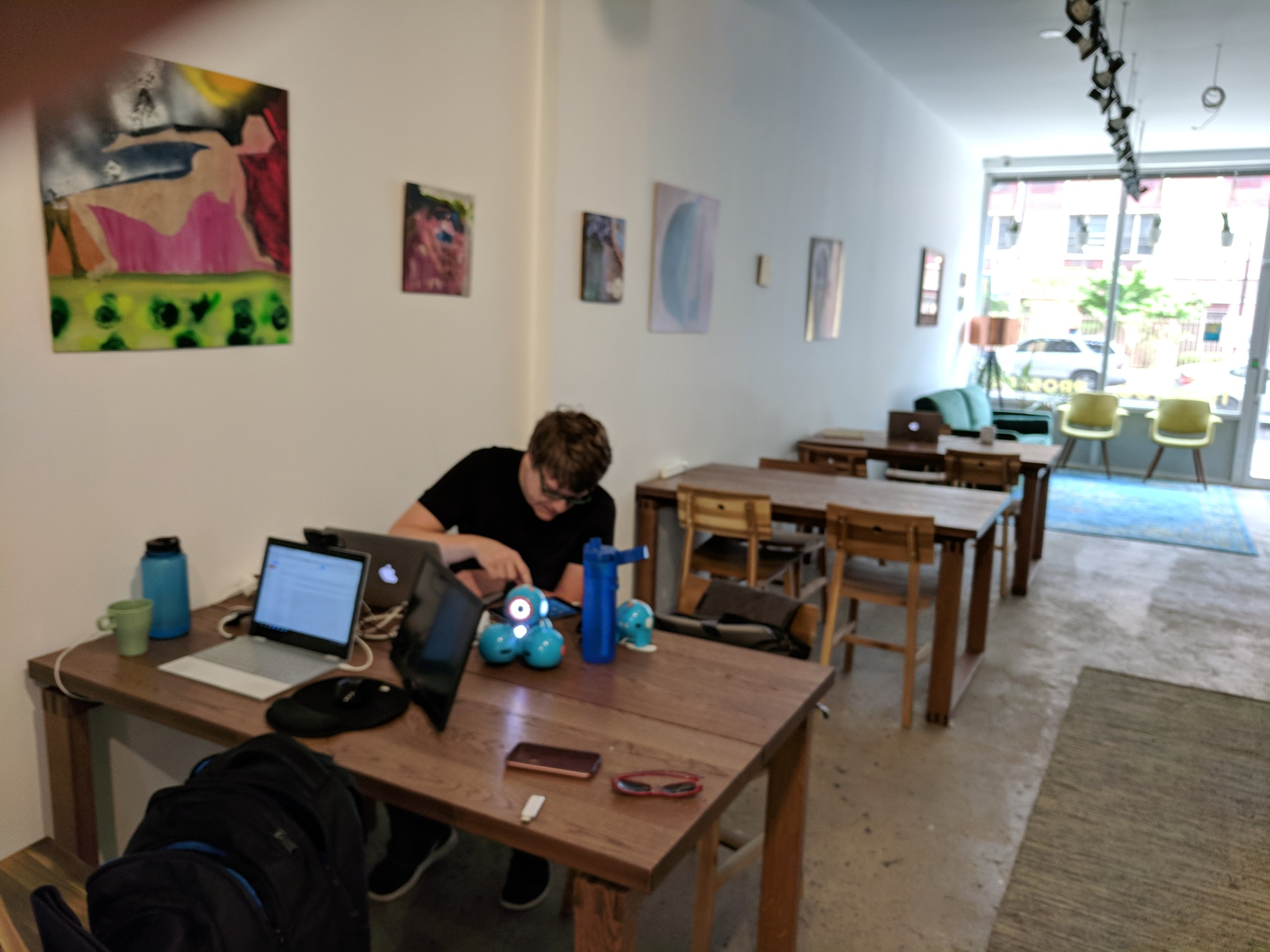 Working at coworking space