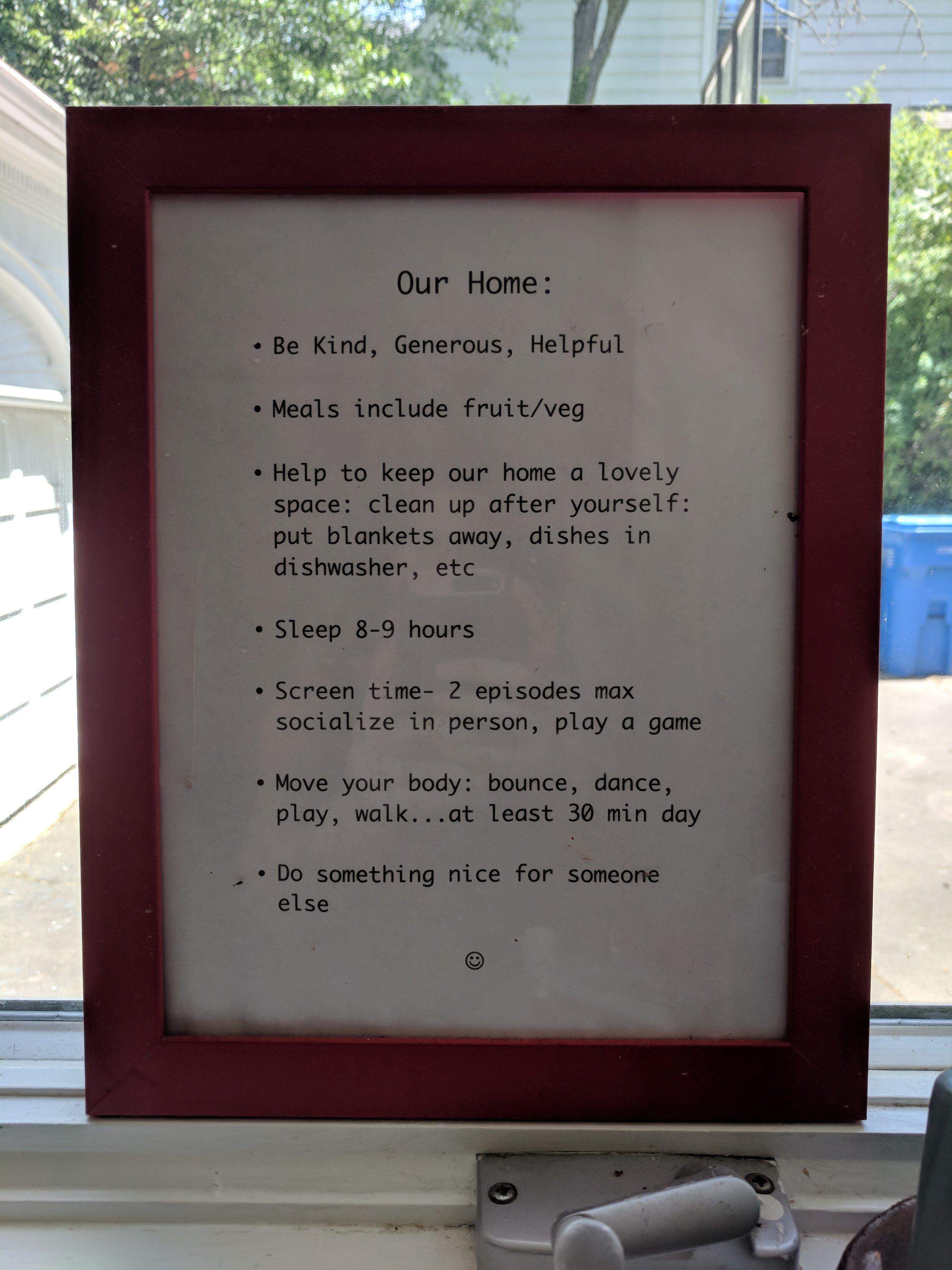 Hamden house rules