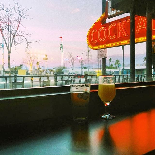 What's better than catching the sun set with a great beer to drink?  Photo by @jacobtheaussie  #vegas #dtlv #draaaanks #cocktails #mixology #lasvegas #beer #beerstagram #beerlover #vintagevegas #bar #bars