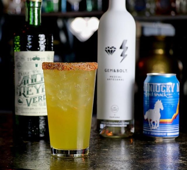No dry January over here! Come in and try our newest cocktail Golden Chile made with  GEM&BOLT mezcal, Midori, Ancho Reyes Verde, peach liqueur, pineapple, lime, hot sauce, topped with Montucky Cold Snacks. .  #vegas #dtlv #draaaanks #cocktails #mixology #lasvegas #beer #beerstagram #beerlover #vintagevegas #bar #bars #mixology #cocktails