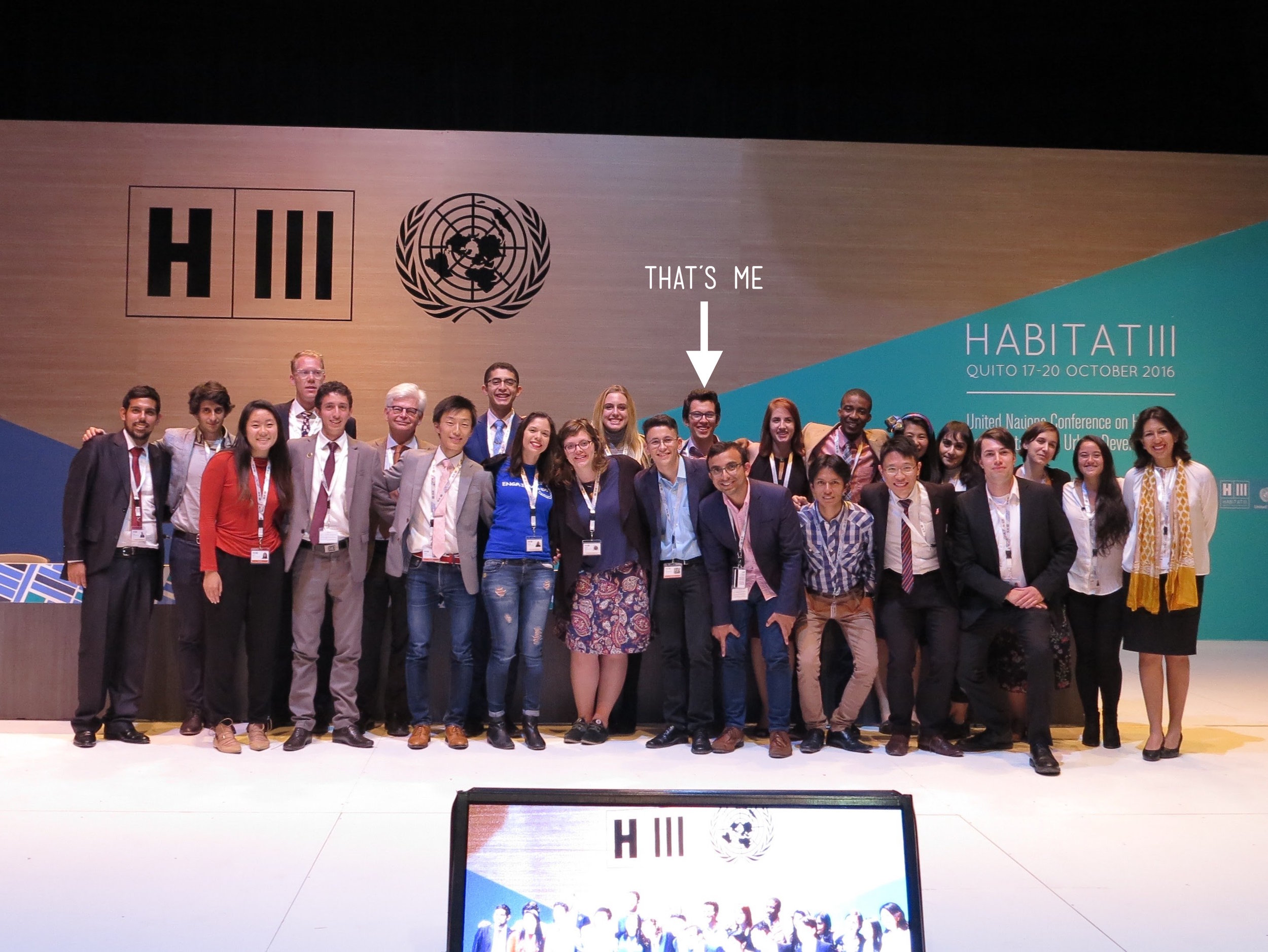 A picture featuring most of the  United Nations Major Group for Children and Youth  delegation at Habitat III, including myself.