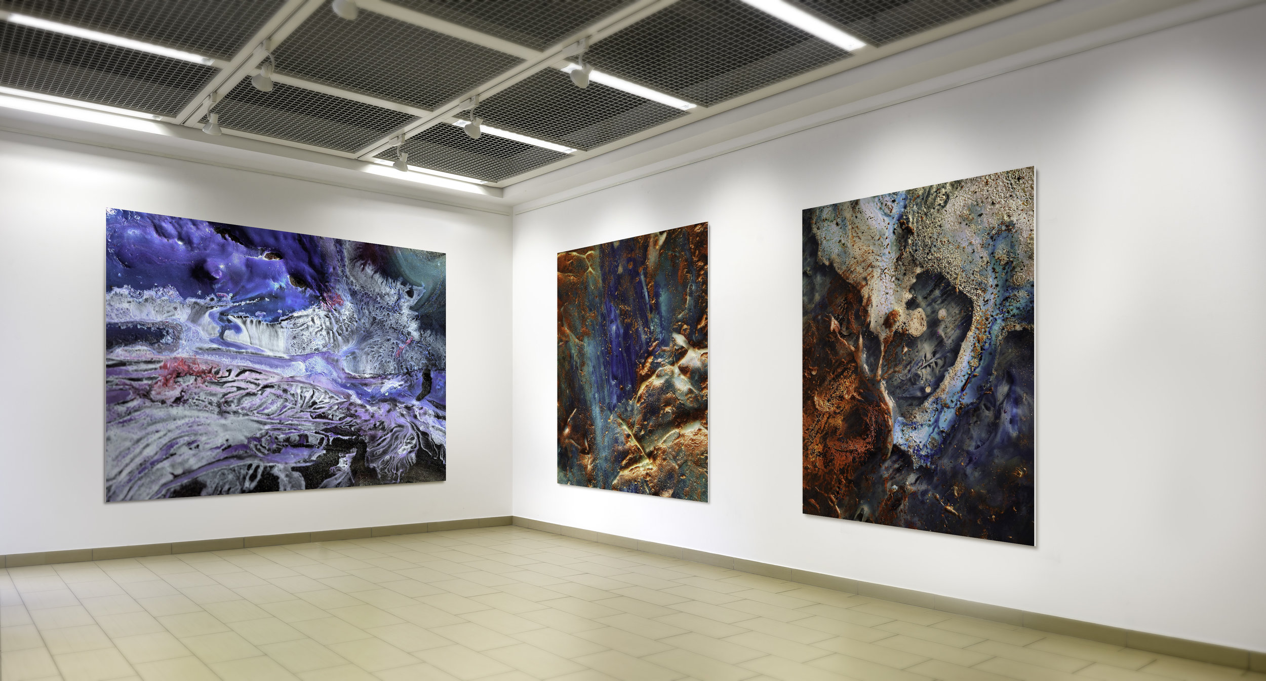 """(Left to Right)  """" Coral Slice """"   MacoScapes - Aluminum Photograph - (60""""x72""""x2"""")  """" Lava by the Ocean """"   MacroScapes - Aluminum Photograph - (60""""x36""""x2"""")   """"Blue Quasar 2B""""      MacroScapes - Aluminum Photograph - (60""""x36""""x2"""")"""
