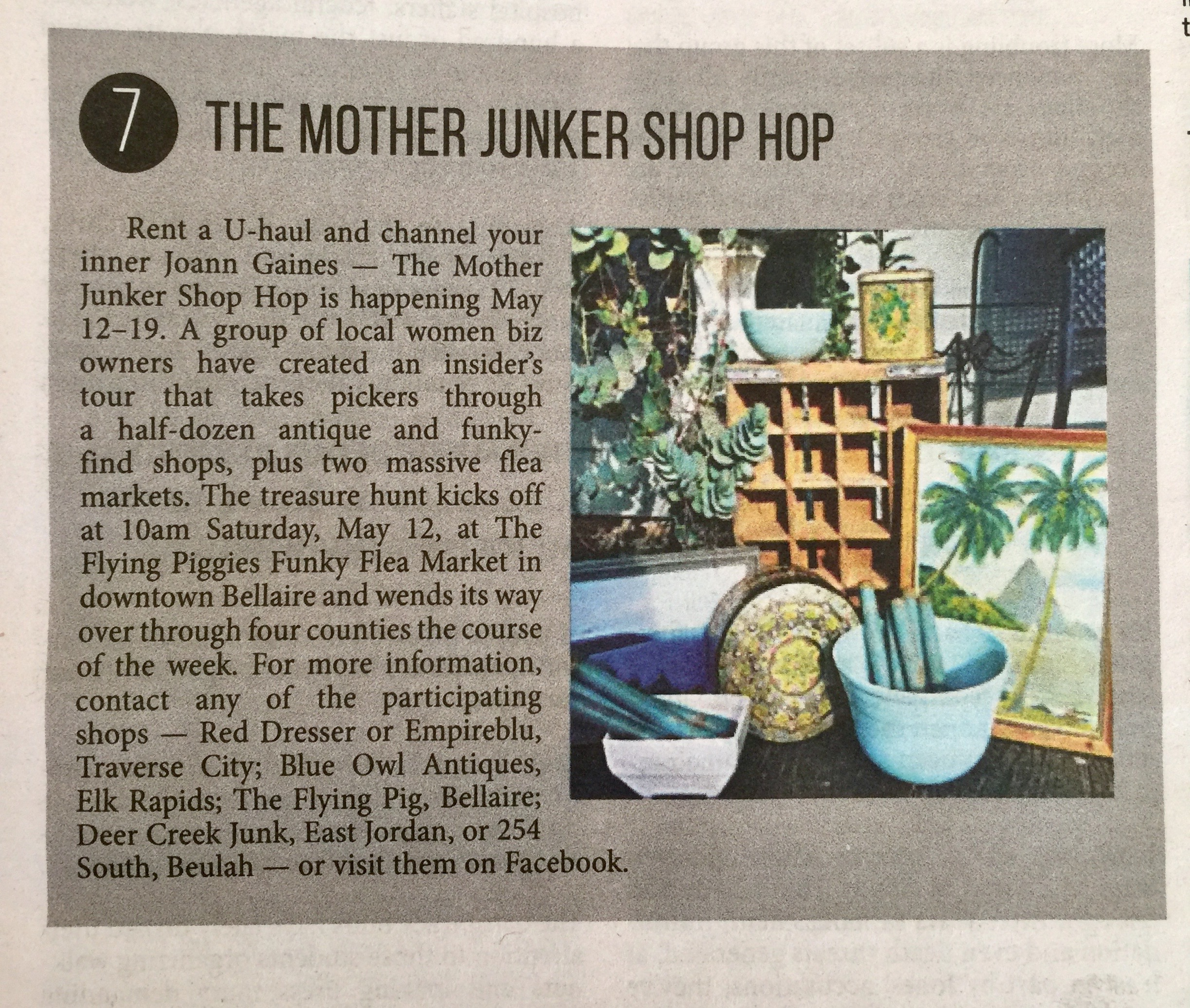 NORTHERN EXPRESS WEEKLY TOP 10  - The Mother Junker Shop-Hop was featured in the April 30th edition of Northern Express