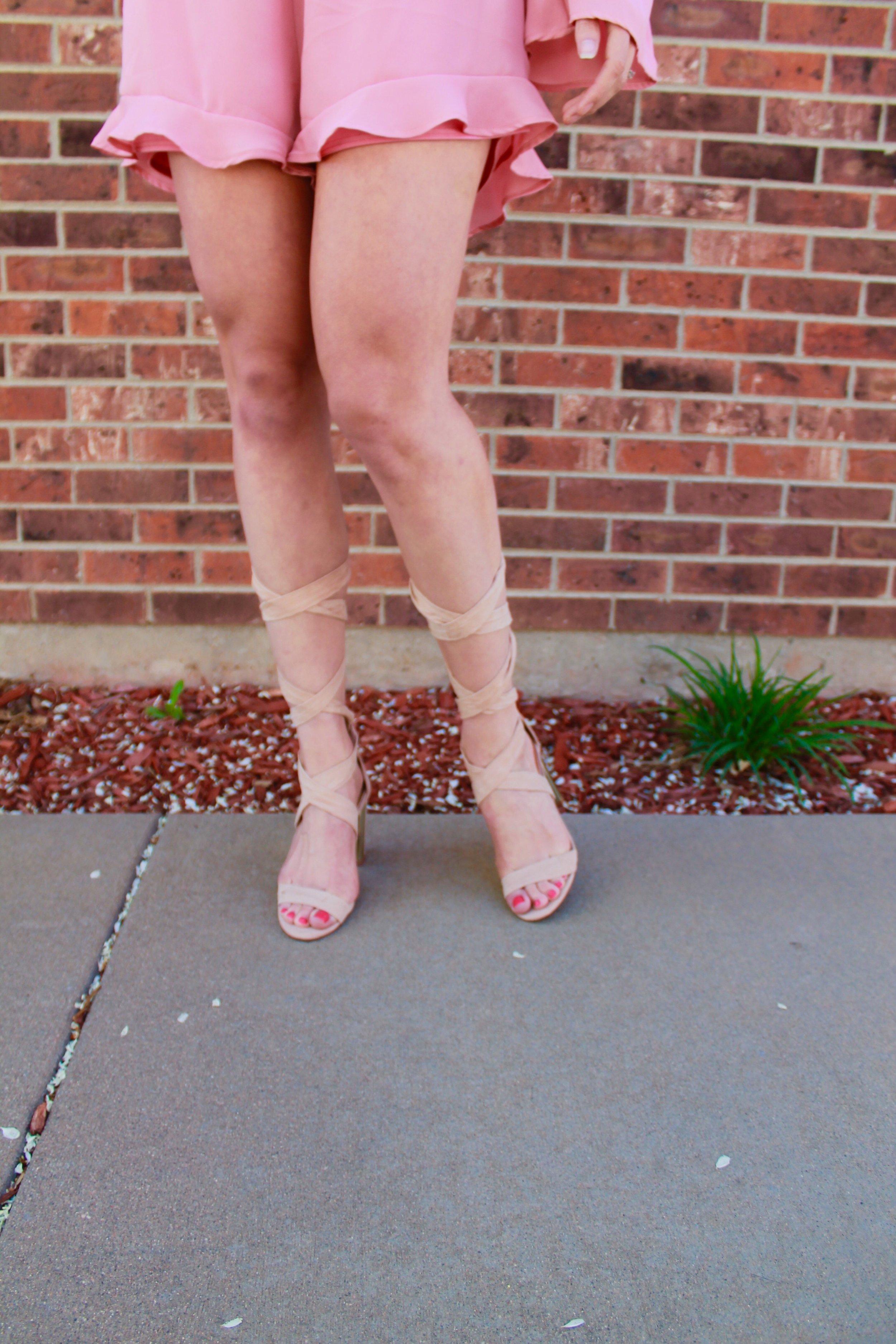Looky-Loo Nude Suede Lace Up Heels from Lulu's