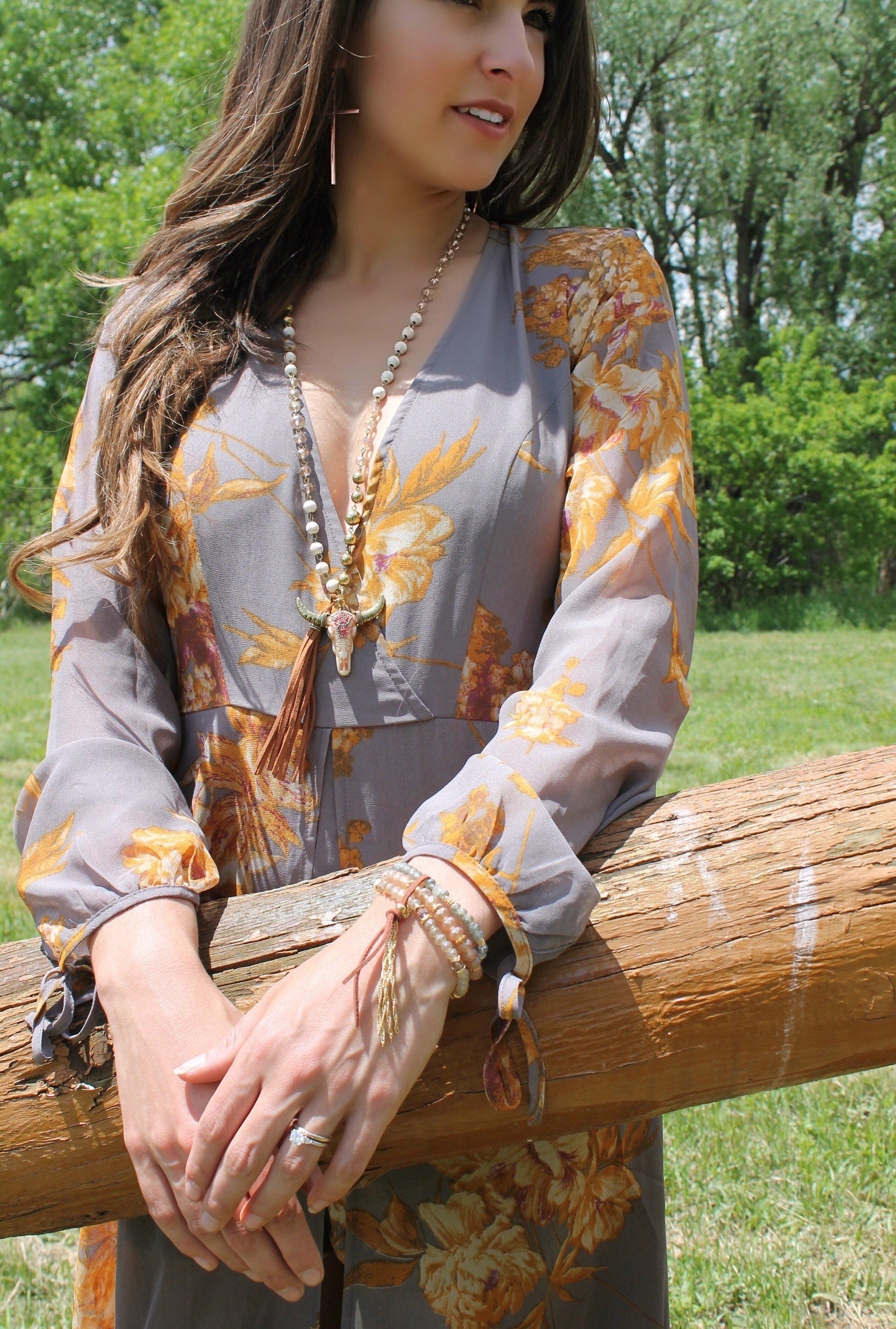 Shyanne Women's Beaded and Feather Tassel Bracelet from Boot Barn