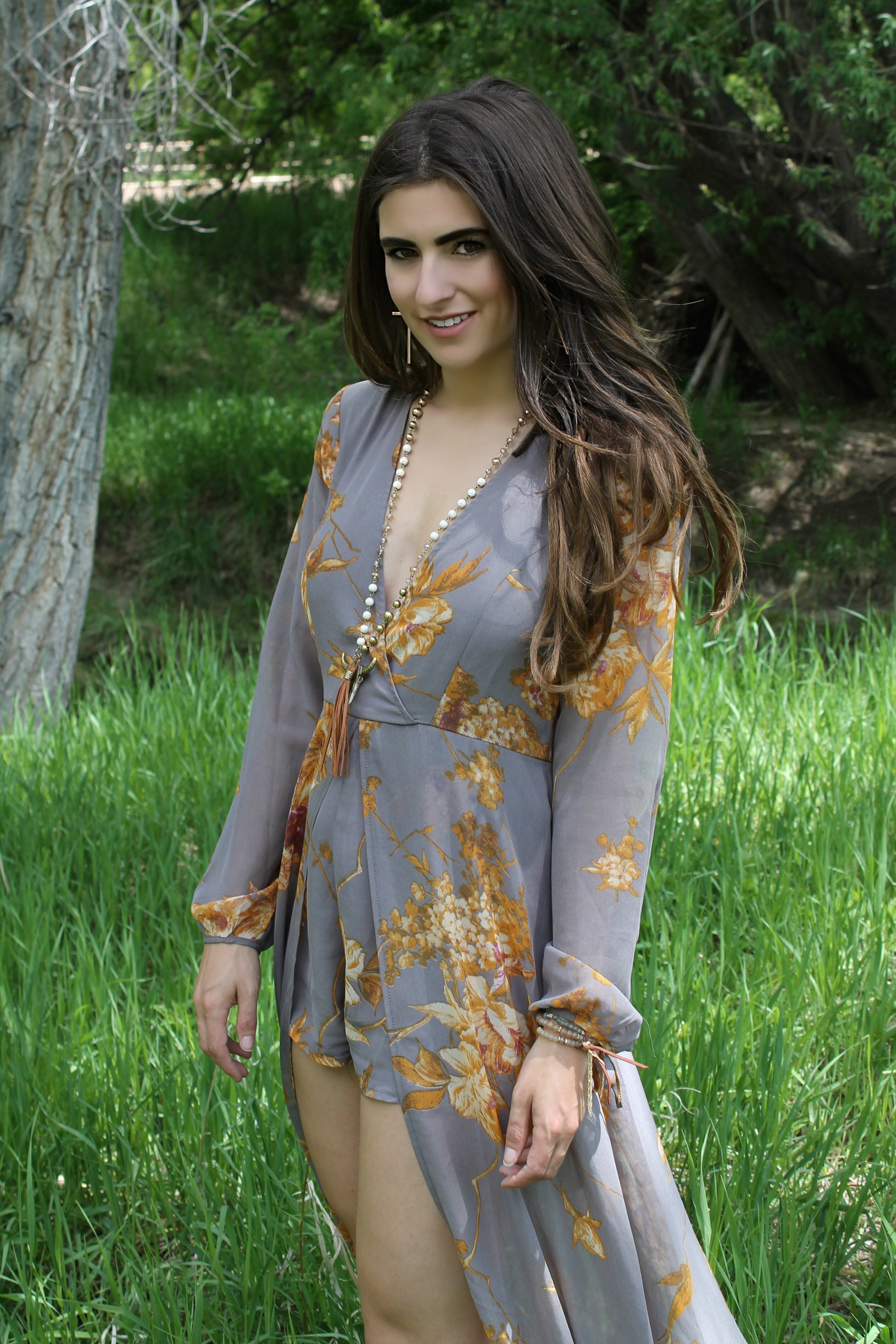 Fine and Dandelion Grey Floral Print Romper from Lulu's