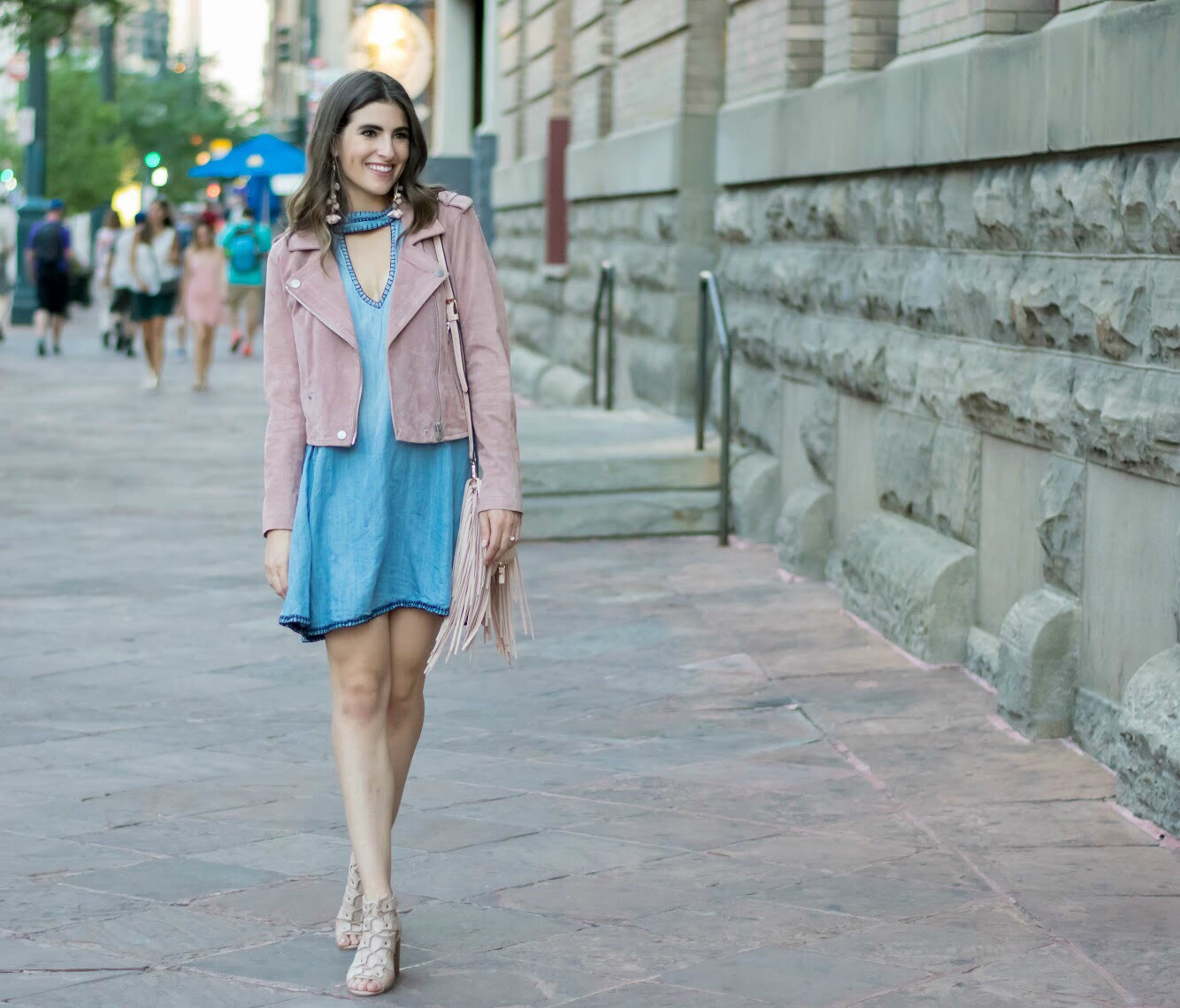 Cloth & Stone High Neck Chambray Dress from Anthropologie
