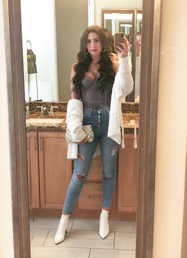 OOTD - Occasion: Brunch at Tamayo, Veuve Cliquot in the Snow at Four SeasonsMarch 2019Outfit Details:Mesh & Lace BodysuitPopcorn Knit Longline CardiganSimilar Distressed JeansSimilar White BootiesKate Spade Pearl Hoop EarringsLouis Vuitton Favorite PM