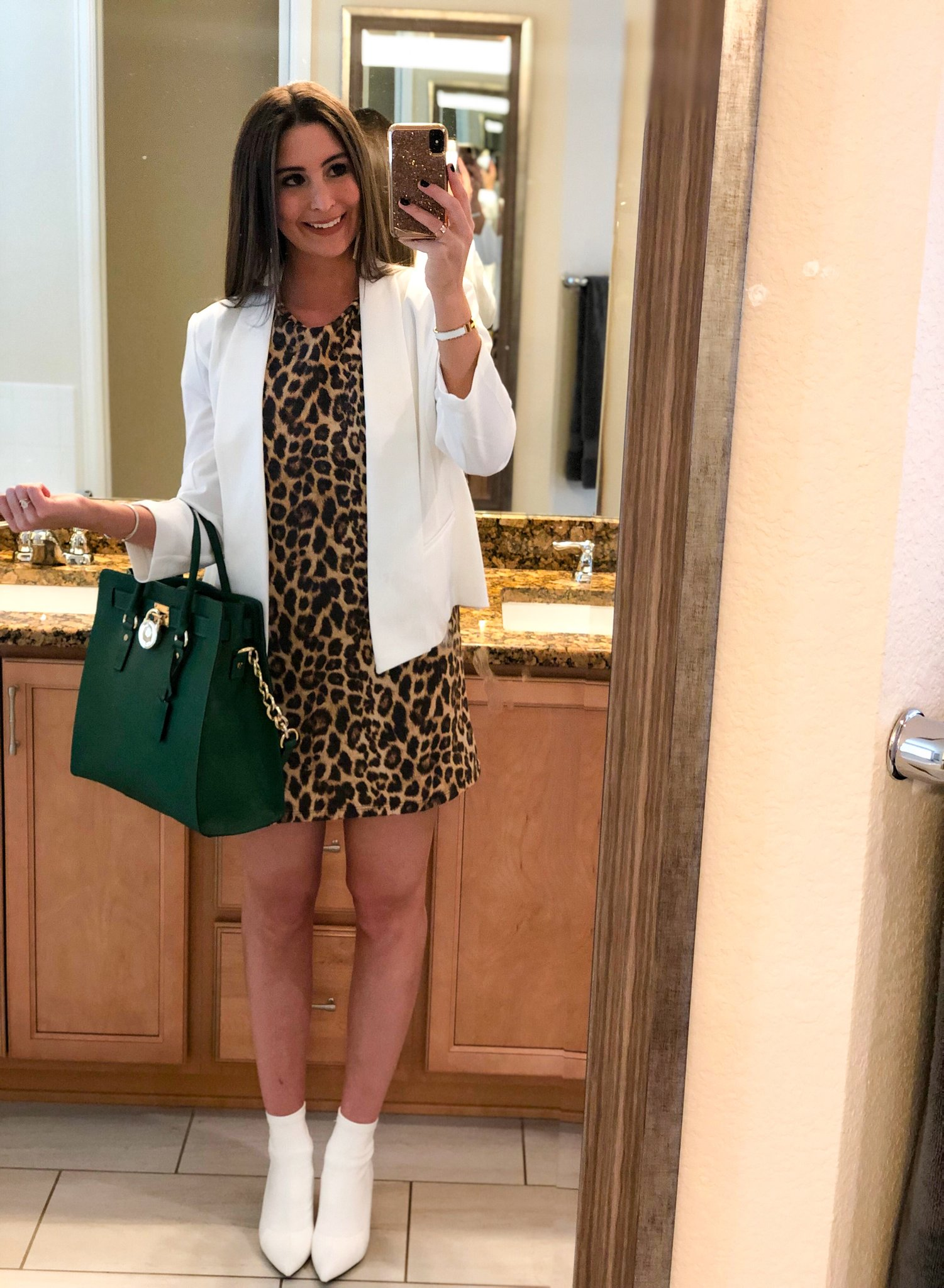 OOTN - Occasion: Influencer dinner, STK Two Year Anniversary & Spring PreviewMarch 2019Outfit Details:Similar Leopard T-Shirt DressSimilar White BlazerSimilar White BootiesSimilar Michael Kors Purse