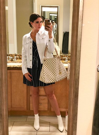 OOTN - Occasion: Influencer dinner at Barolo GrillApril 2019Outfit Details:Similar Striped DressSimilar White BootiesLouis Vuitton Artsy MM (no longer available in the Damier Azur on the LV site - can find on the RealReal or Tradesy)'Helena' Denim JacketI.N.C. Large Gold-Tone & Hematite-Tone Bead Glitter Gypsy Hoop Earrings