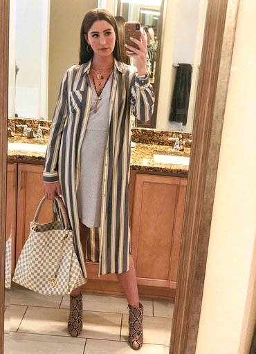 OOTN - Occasion: Influencer dinner at Chow Morso OsteriaMay 2019Outfit Details:Striped button-front pocket duster, ExpressCozy Ribbed Wrap Dress, ExpressFaux Snakeskin Booties, ExpressLouis Vuitton Artsy MMMERCII GEMINI NECKLACE