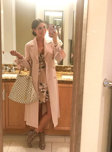OOTN - Occasion: Birthday dinner at Shanahan'sMay 2019Outfit Details:Macy's, RACHEL Rachel Roy Trench CoatFaux Snakeskin Booties, ExpressLouis Vuitton Artsy MMSimilar Blush Floral DressMERCII GEMINI NECKLACE
