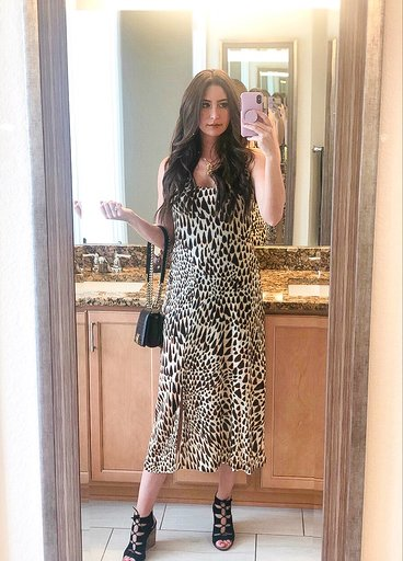 OOTD - Occasion: WineFest at the Denver AquariumAugust 2019Outfit Details:Nordstrom TOPSHOP Animal Print Midi DressSmall Boy Chanel HandbagMERCII GEMINI NECKLACEMERCII UNITY NECKLACESimilar Lace-Up Wedge Sandal
