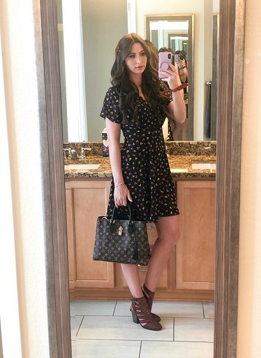 OOTD - Occasion: Influencer dinner at Bamboo SushiSeptember 2019Outfit Details:Madewell, Silk Button-Front Swing Dress in Feline FloralNordstrom, Free People Hayes BootieLouis Vuitton, FLOWER ZIPPED TOTE PMSimilar hair clips