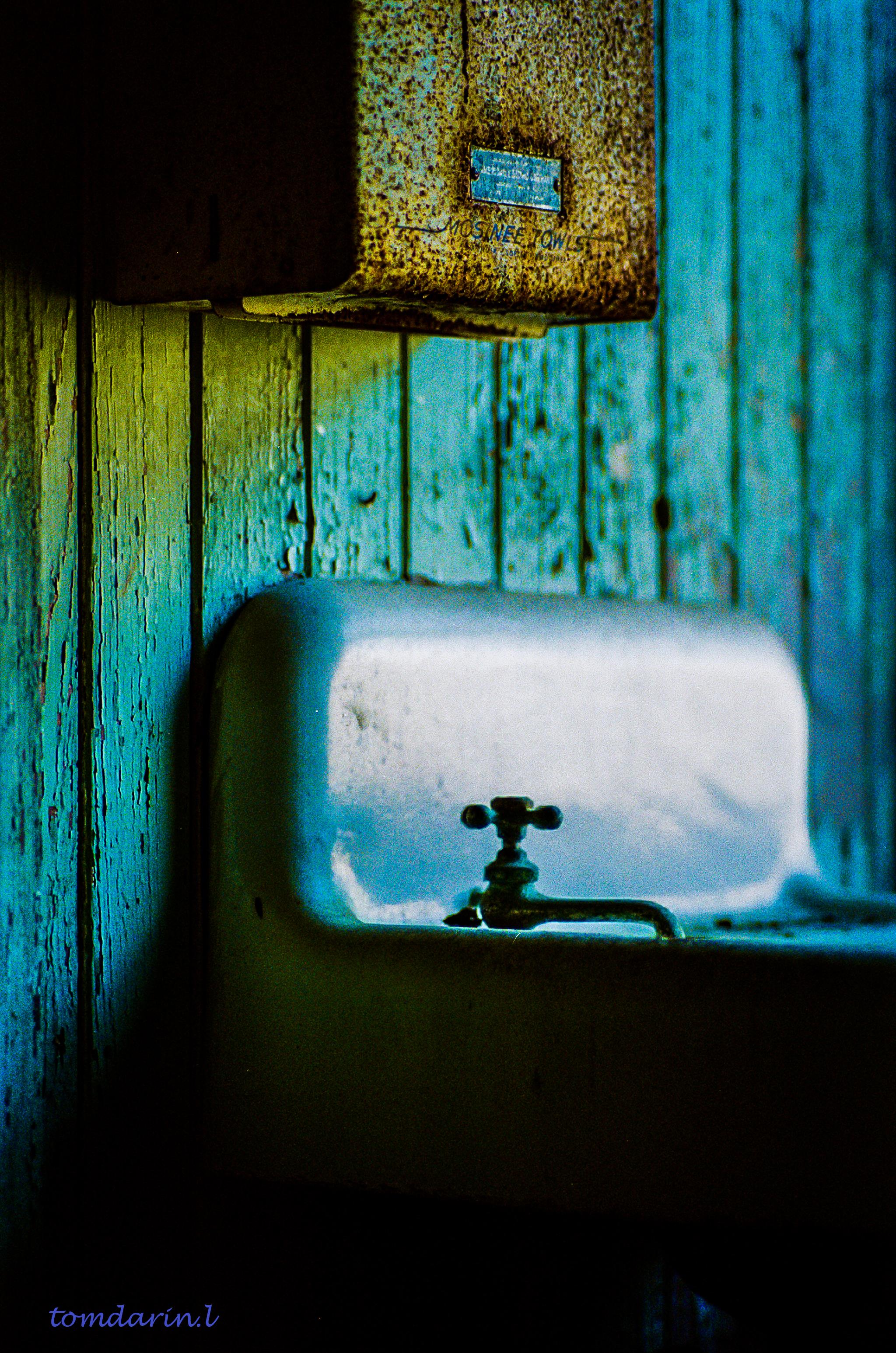 Bathroom in an abandoned church, Houston, Texas