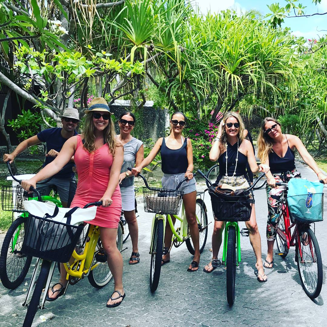 Touring the St Regis Bora Bora by bicycle on our FAM with Marriott Luxury Brands.