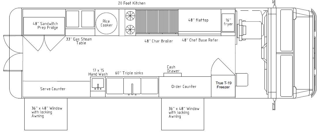 Food truck with 20 ft kitchen: wok, 2 burner, char broiler, griddle and fryer