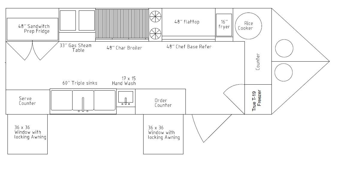 8.5 x 20 food cart full kitchen