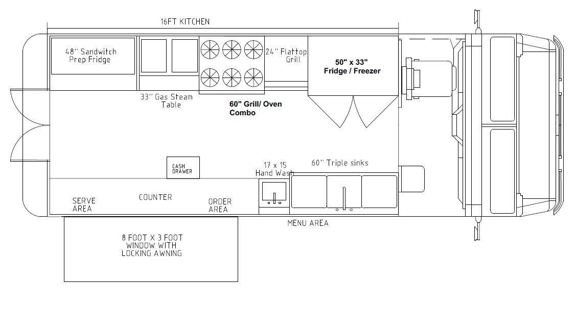 Food truck with 16ft kitchen: griddle, 6 burner oven, steam table