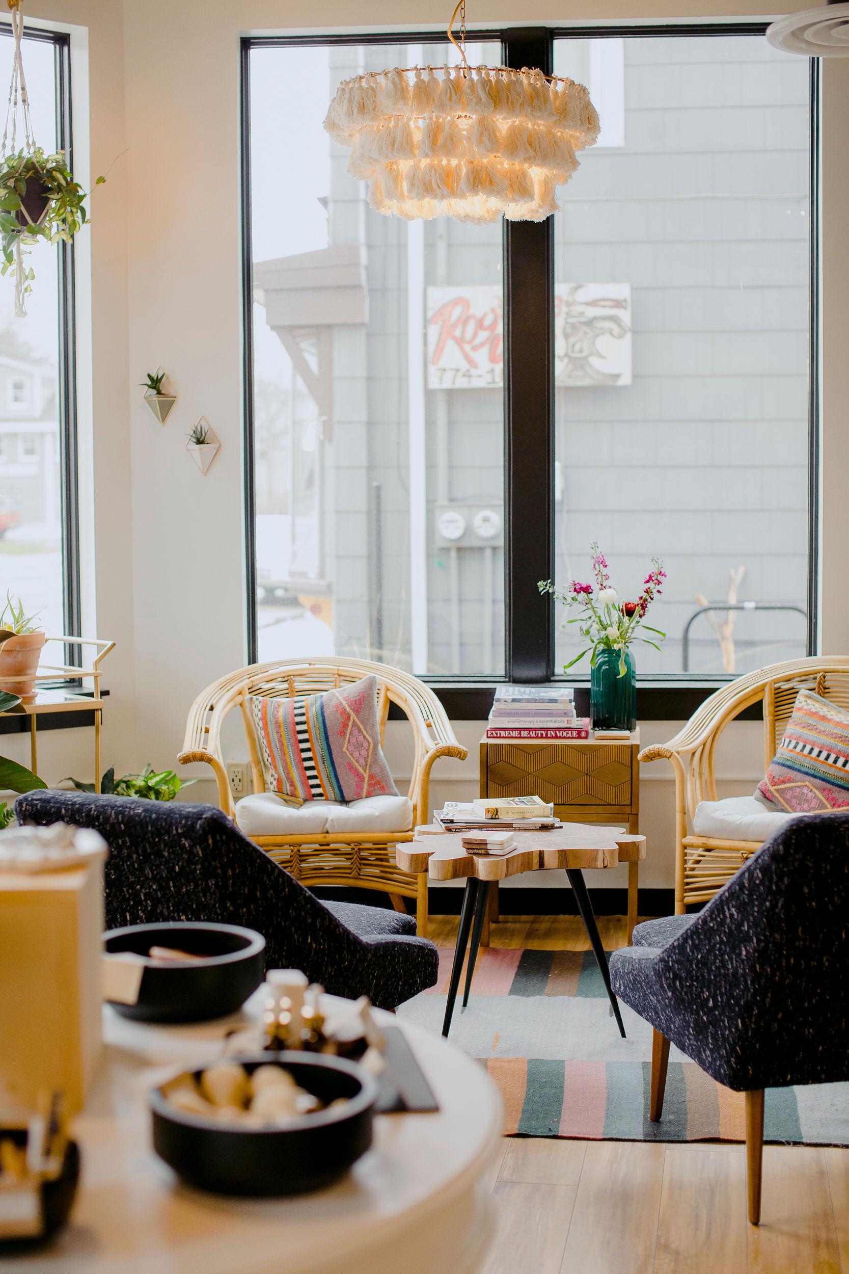 The Lounge at ABURA: modern apothecary + skin care studio. Photo by Meredith Brockington.