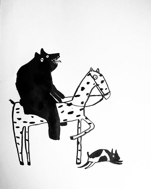 Morning sketch before the holiday chaos begins(I'm not sure if I'm the bear, the horse or that little thingy in the front)😘 #art #artist #artiste #handmadeart #pendrawing #inkpainter #draw #draweveryday #penseldrawing #originalartworks #drawingaday #drawanything #blæktegning #tegning #maleri #malerier #dansk_kunst #danskkunst #kbhkunst #sanfranciscoart #kunstner #okayyesfine #miemogensen