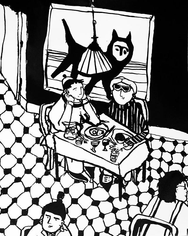 Quicky from a cafe in Amsterdam... #art #artist #artiste #handmadeart #pendrawing #inkpainter #draw #draweveryday #penseldrawing #originalartworks #drawingaday #drawanything #blæktegning #tegning #maleri #malerier #dansk_kunst #danskkunst #kbhkunst #sanfranciscoart #kunstner #okayyesfine #miemogensen
