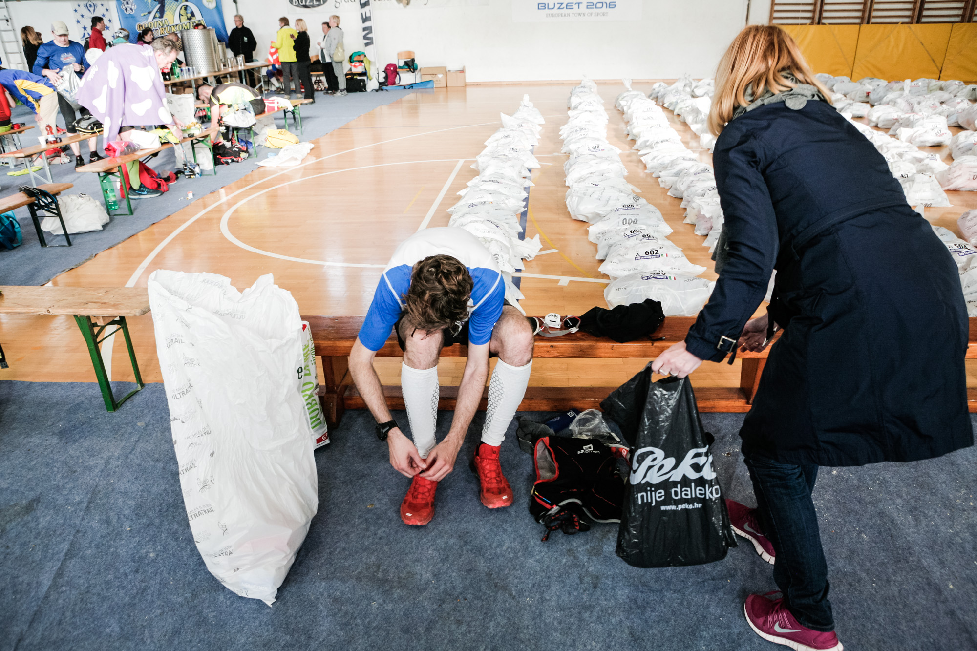 Me getting a change of clothes at  Istria 100 Ultra-marathon