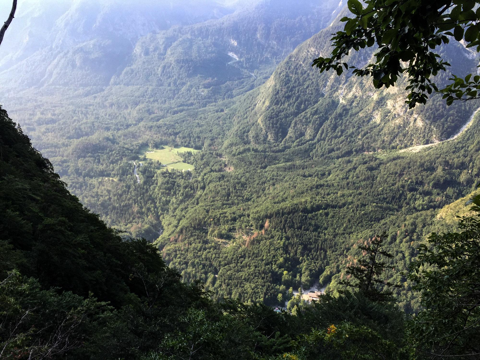 High above Koca pri Savici (bottom right)