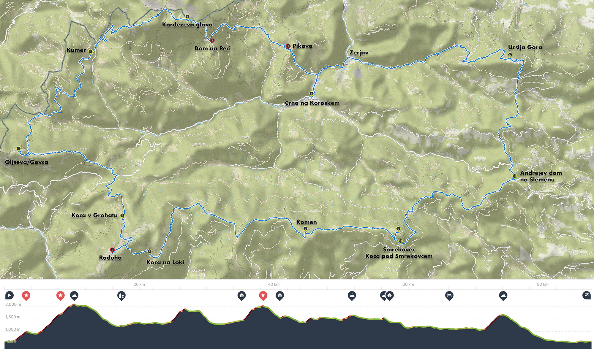 K24 Counter-clockwise route:  Elevation profile  from left to right shows Peca, Govca, Raduha, Komen, Smrekovec, Sleme, Urslja Gora