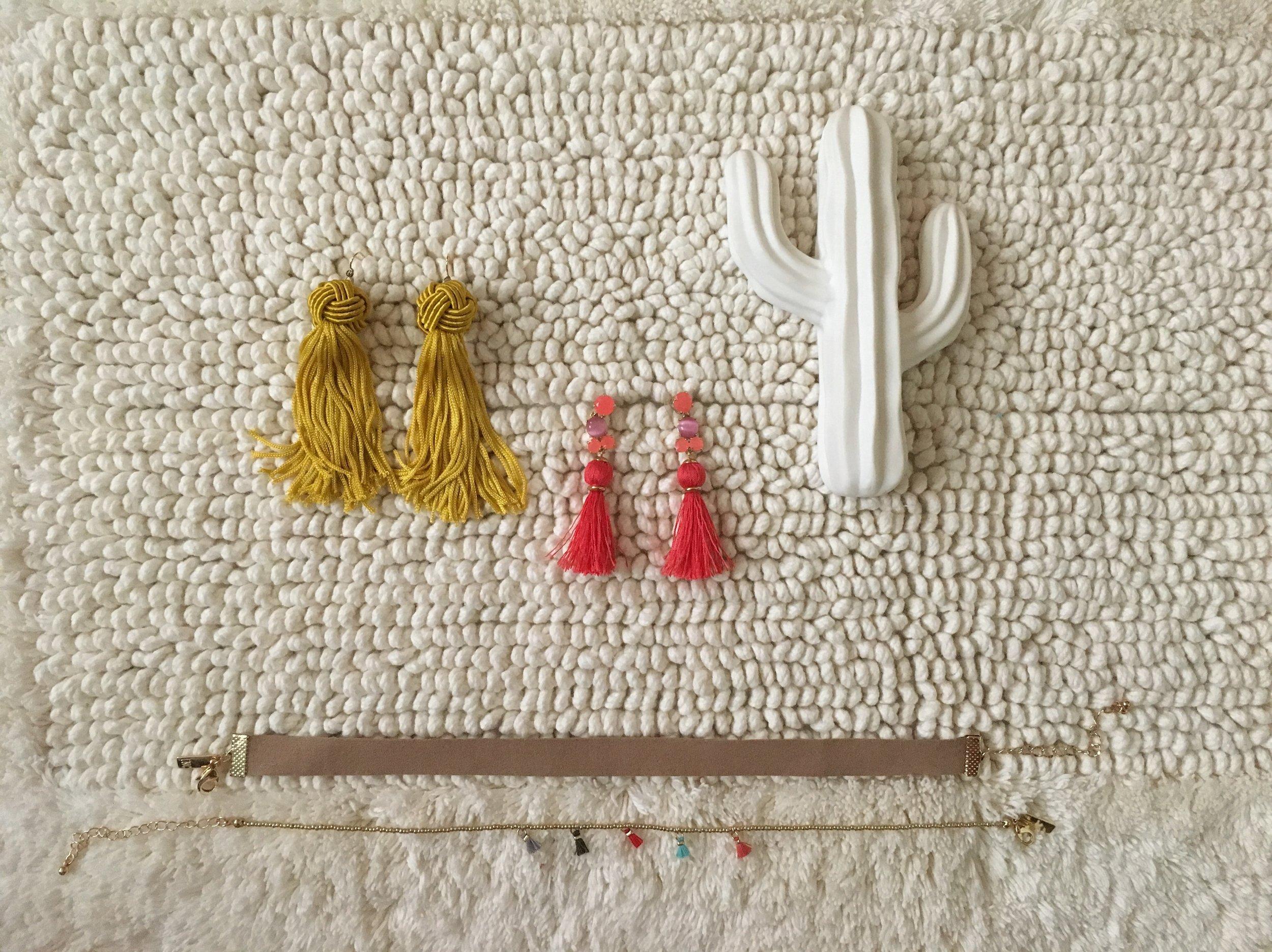 - 1. Vanessa Mooney Gold Astrid Tassel Earrings 2. Kate Spade Pink Tassel Earrings 3. I.N.C. Tassel Choker