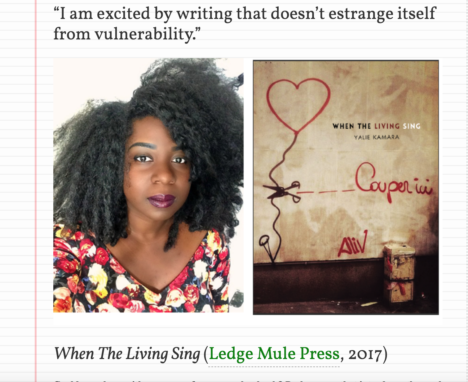 - Interview with Yalie Kamara, author of When The Living Sing, Speaking of Marvels, July 14, 2017