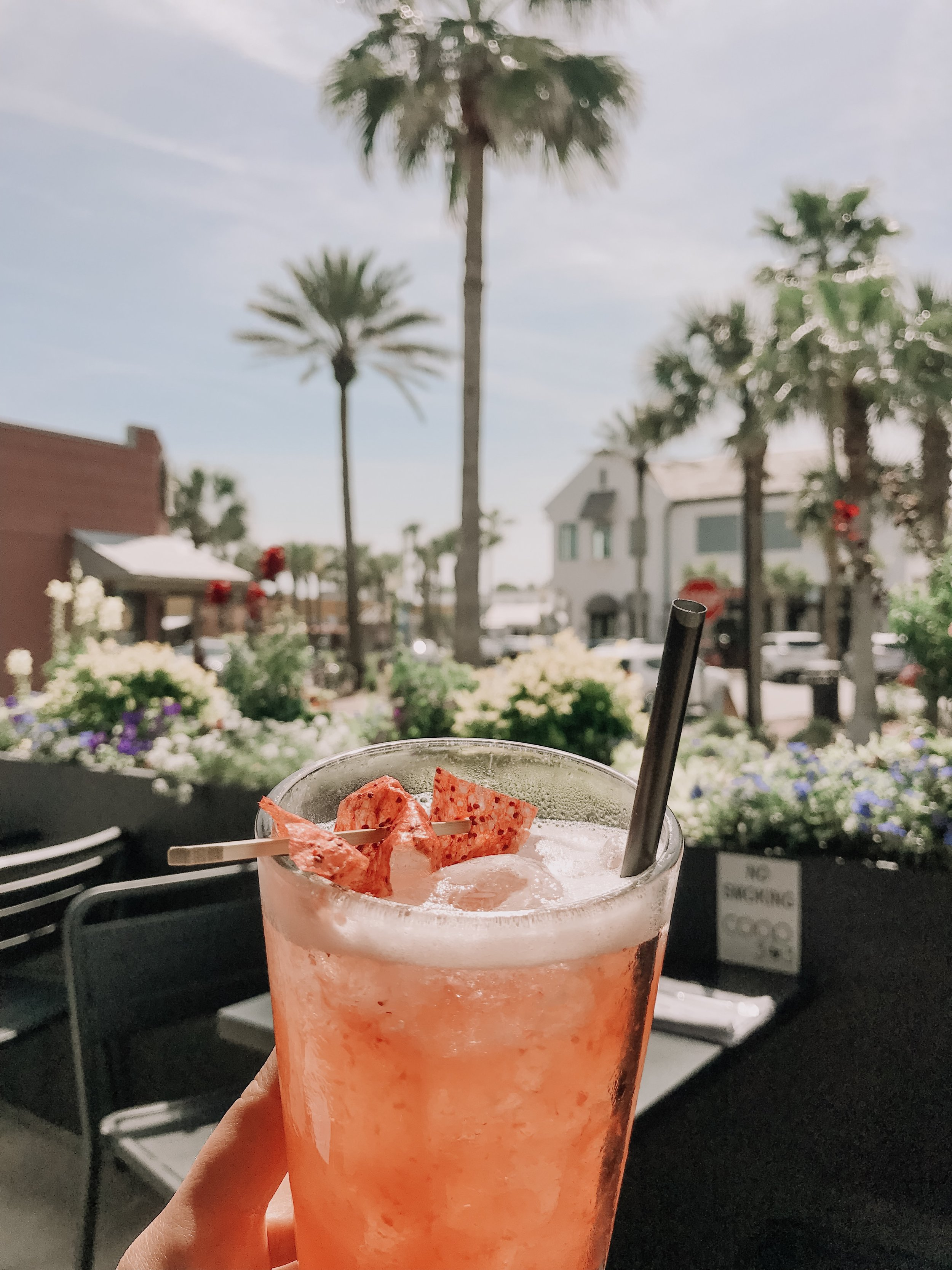 """Best Drink EVER!!! Called the """"Southern Mistress"""" it was bourbon, strawberry puree, and lemonade! With a homemade fruit roll on top :)"""