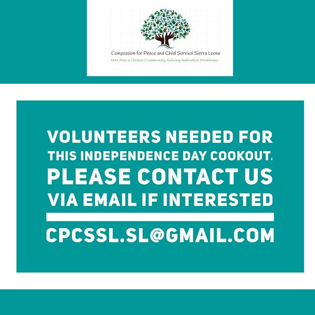 We are so excited to be hosting this year's Sierra Leone Independence day celebration alongside @sierraleoneforlife.  We are expecting a large crowd and will need a lot of help when it comes to set up and running of the event. If you would like to volunteer and receive volunteer hours please email us your contact information and someone will contact you with more information on how you can be an essential part of the celebration. Thank you in advance.
