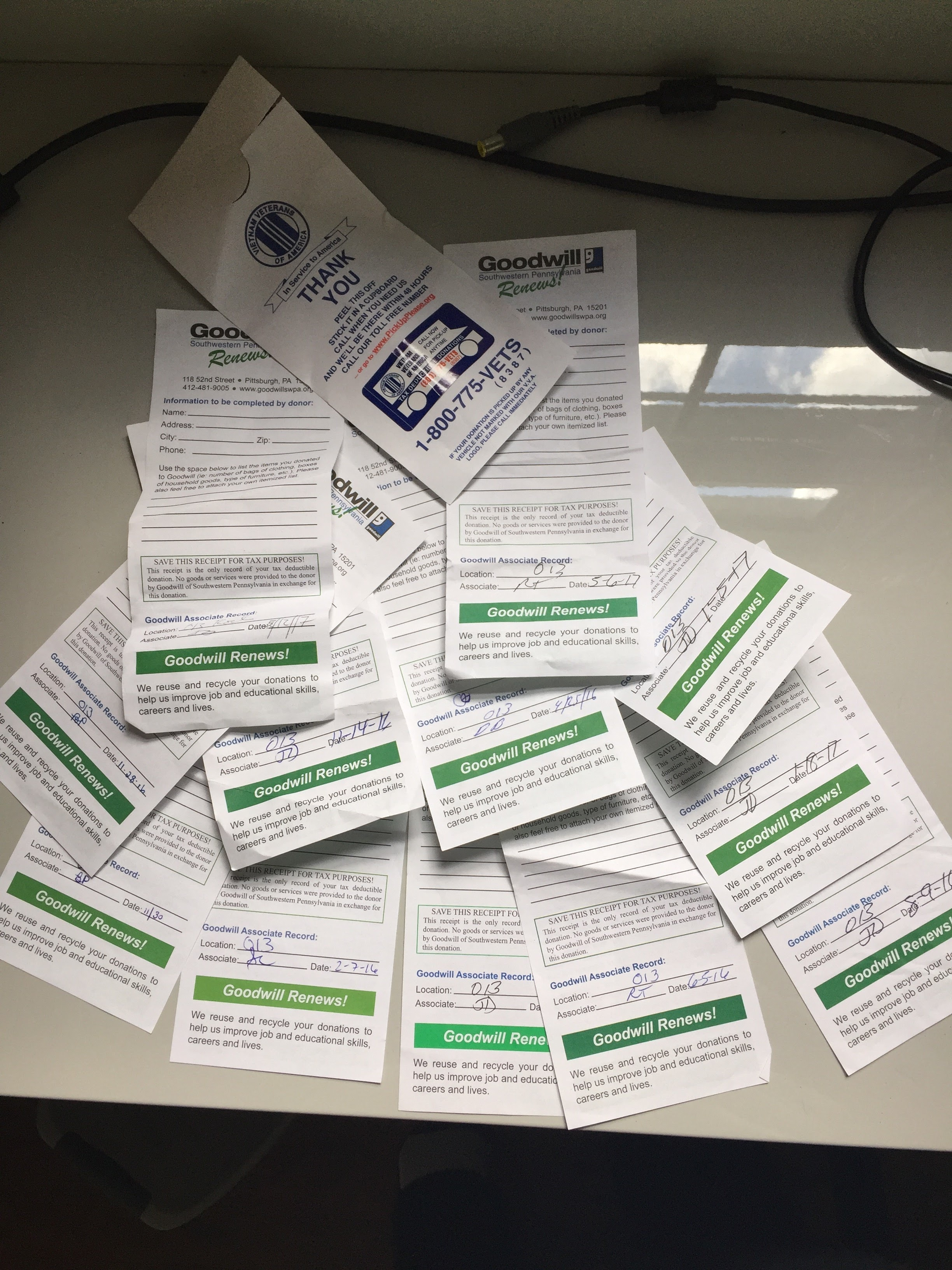 Donation receipts from the months leading up to the move