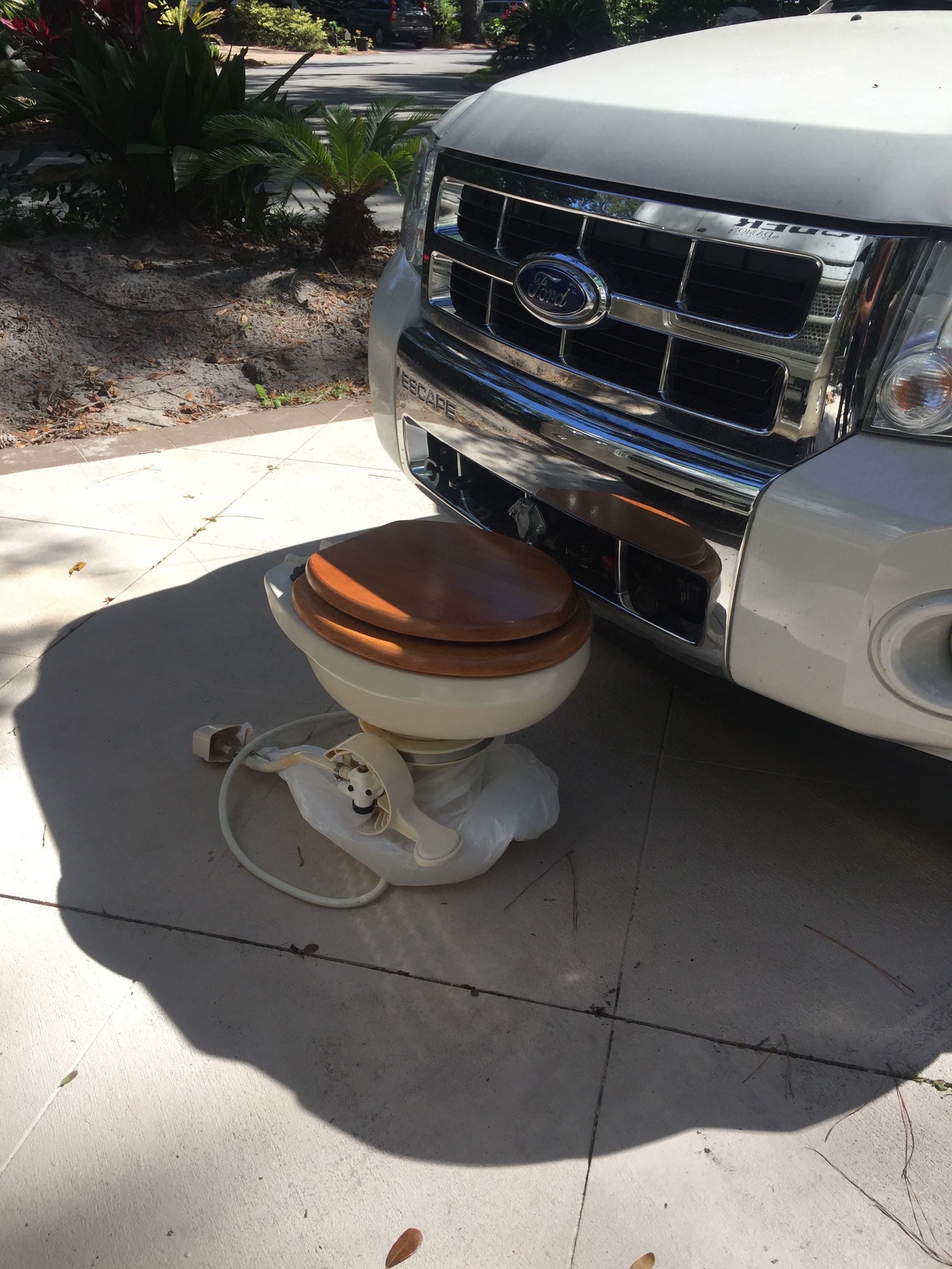 Toilet replacement while parked in Hilton Head. One of many fixes done on the road.