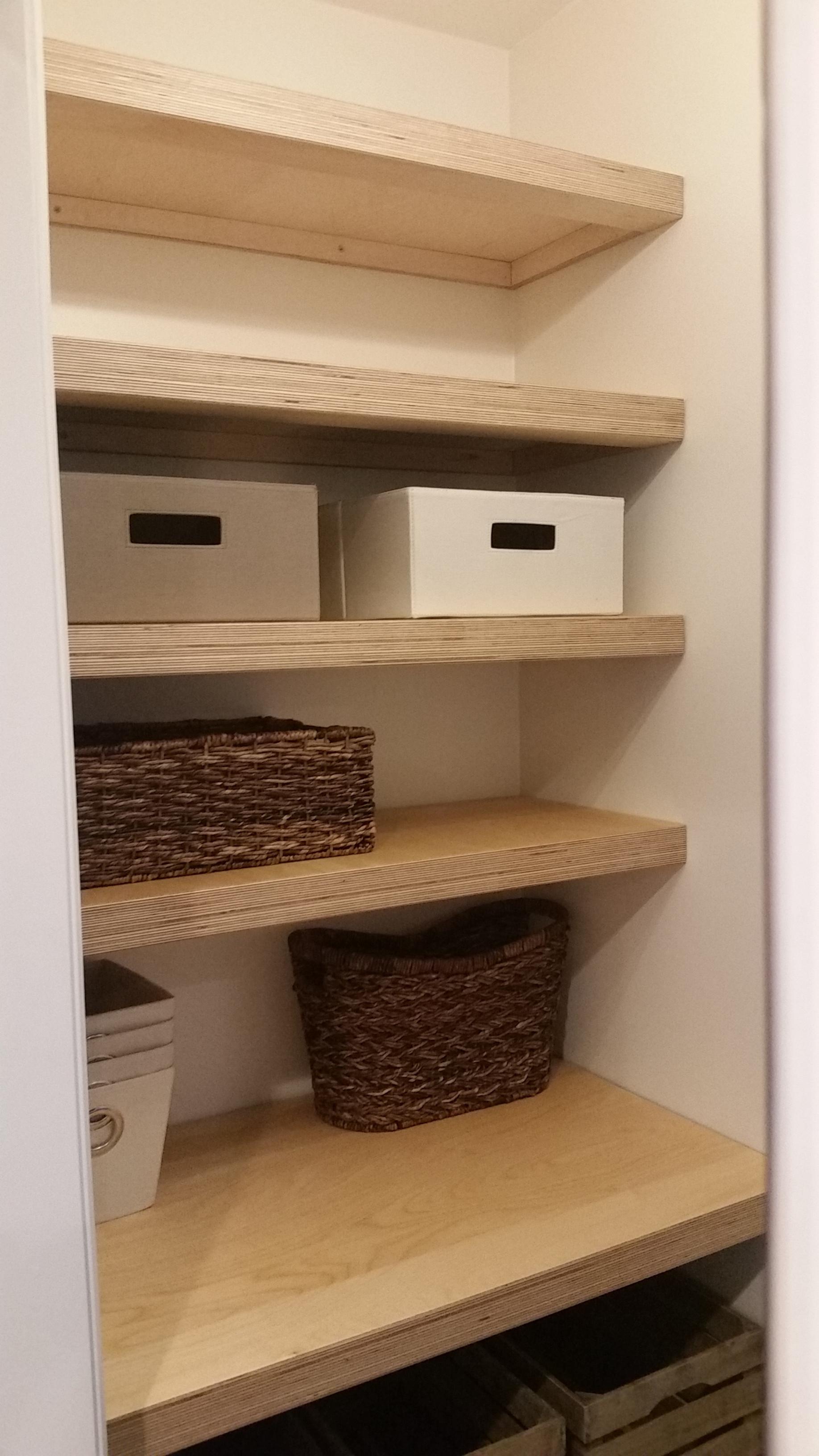 Built in Birch plywood shelves