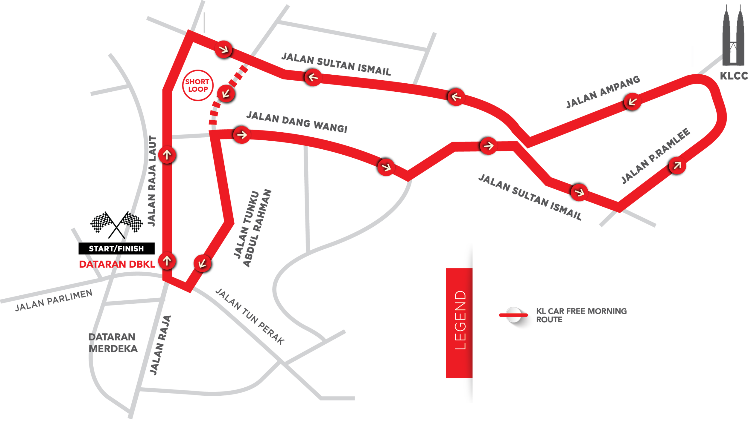 The official KL Car Free route. Source: www.klcarfreemorning.com