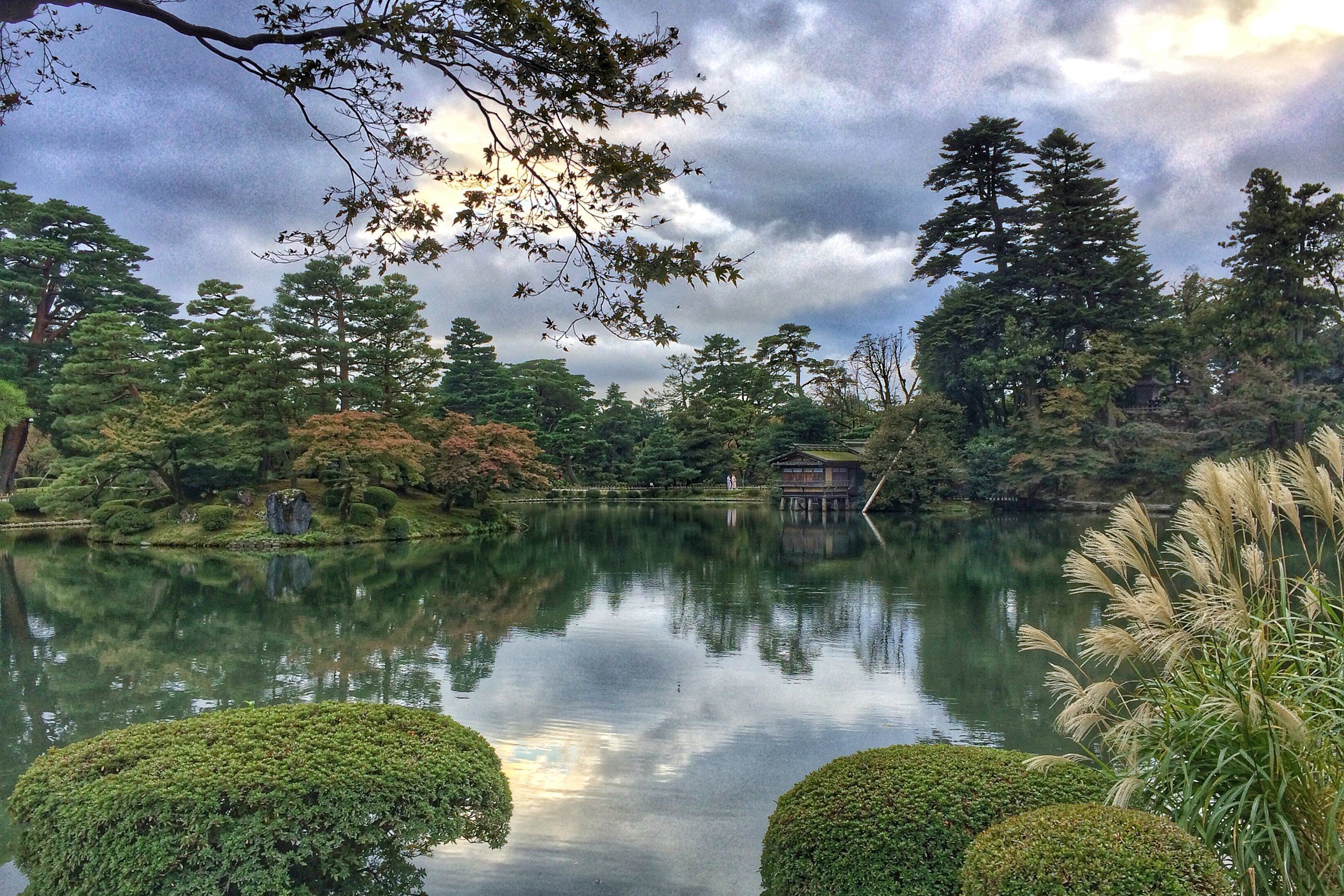 The sublimely beautiful gardens of Kenrokuen in Kanazawa, right before sunset.