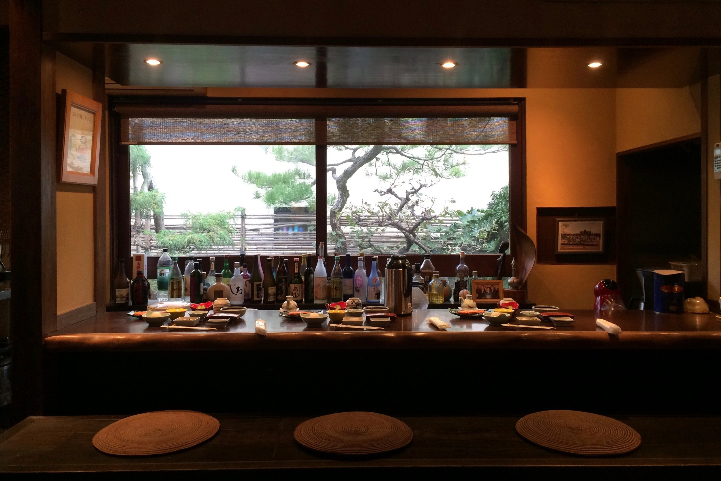 The lovely bar kitchen of Kogetsukan. Dinner and breakfast were served here with the freshest of ingredients.