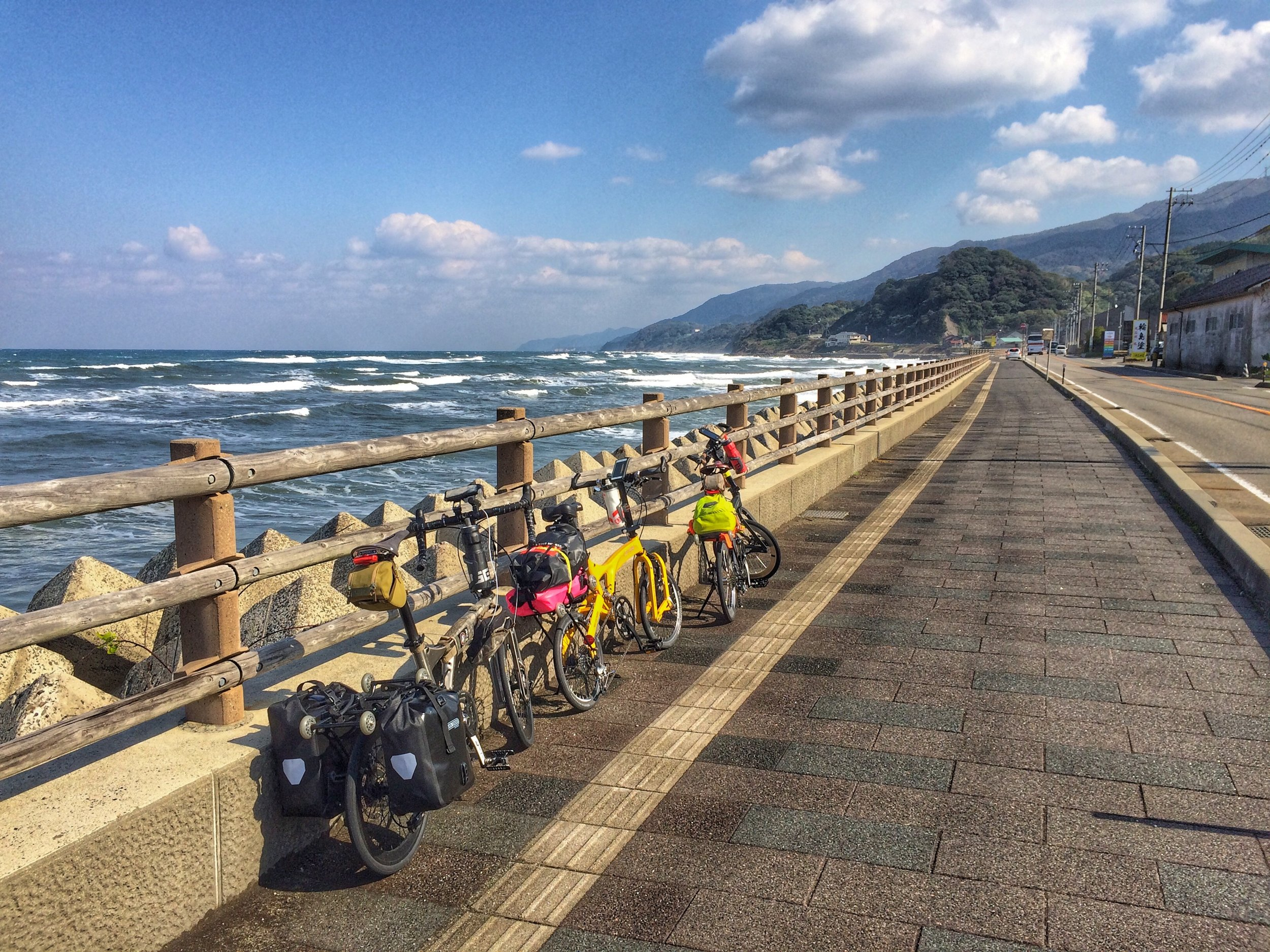 The start of our route at Wajima facing the coast, right after we fixed up Maya's broken tyre valve.