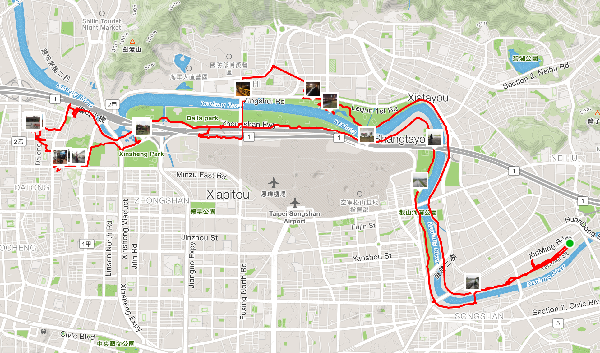 Our cycling route around the Keelung river. Approximately 30km for the day.
