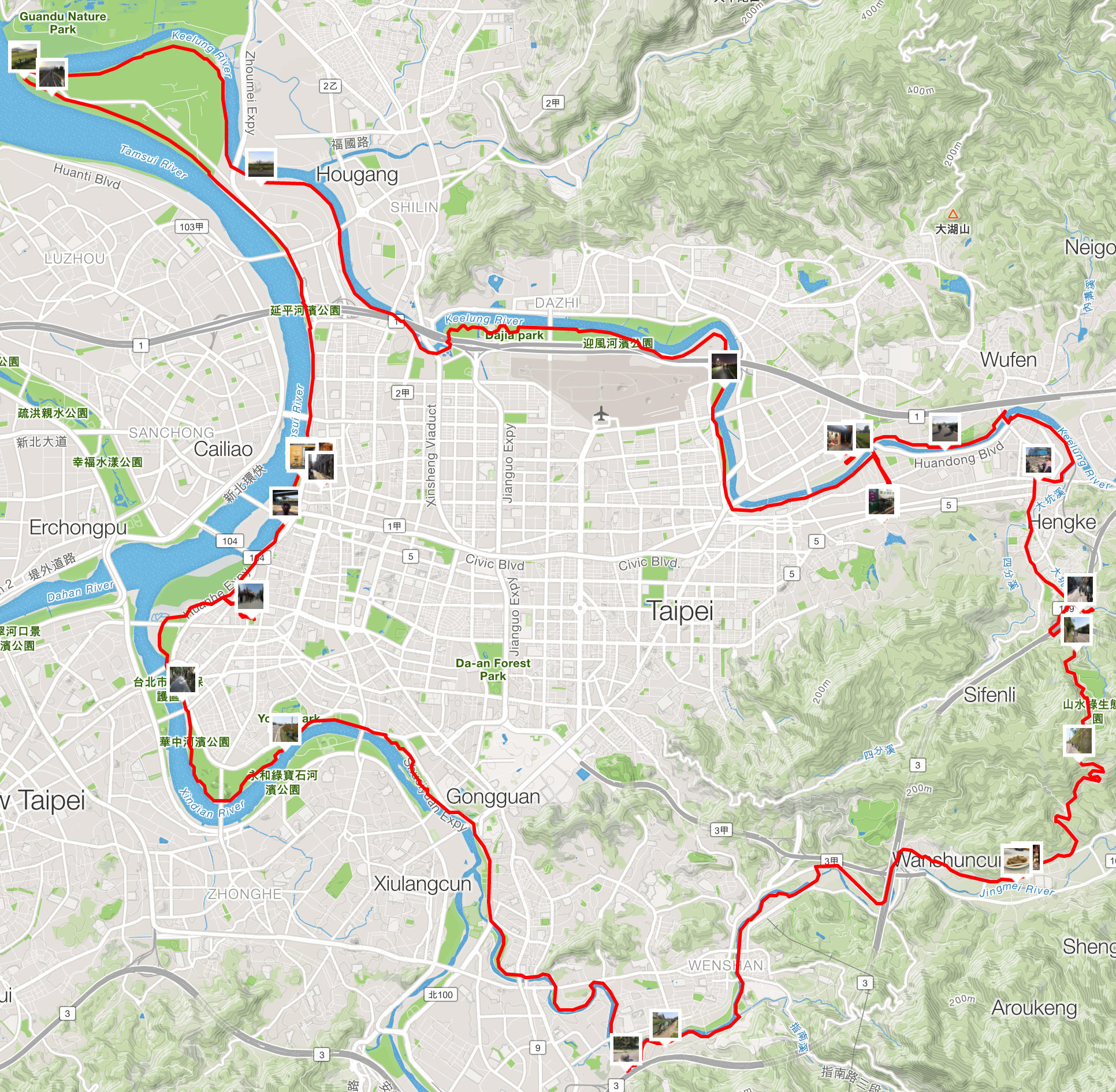 Our cycling route around Taipei. Approximately 80km for the day.