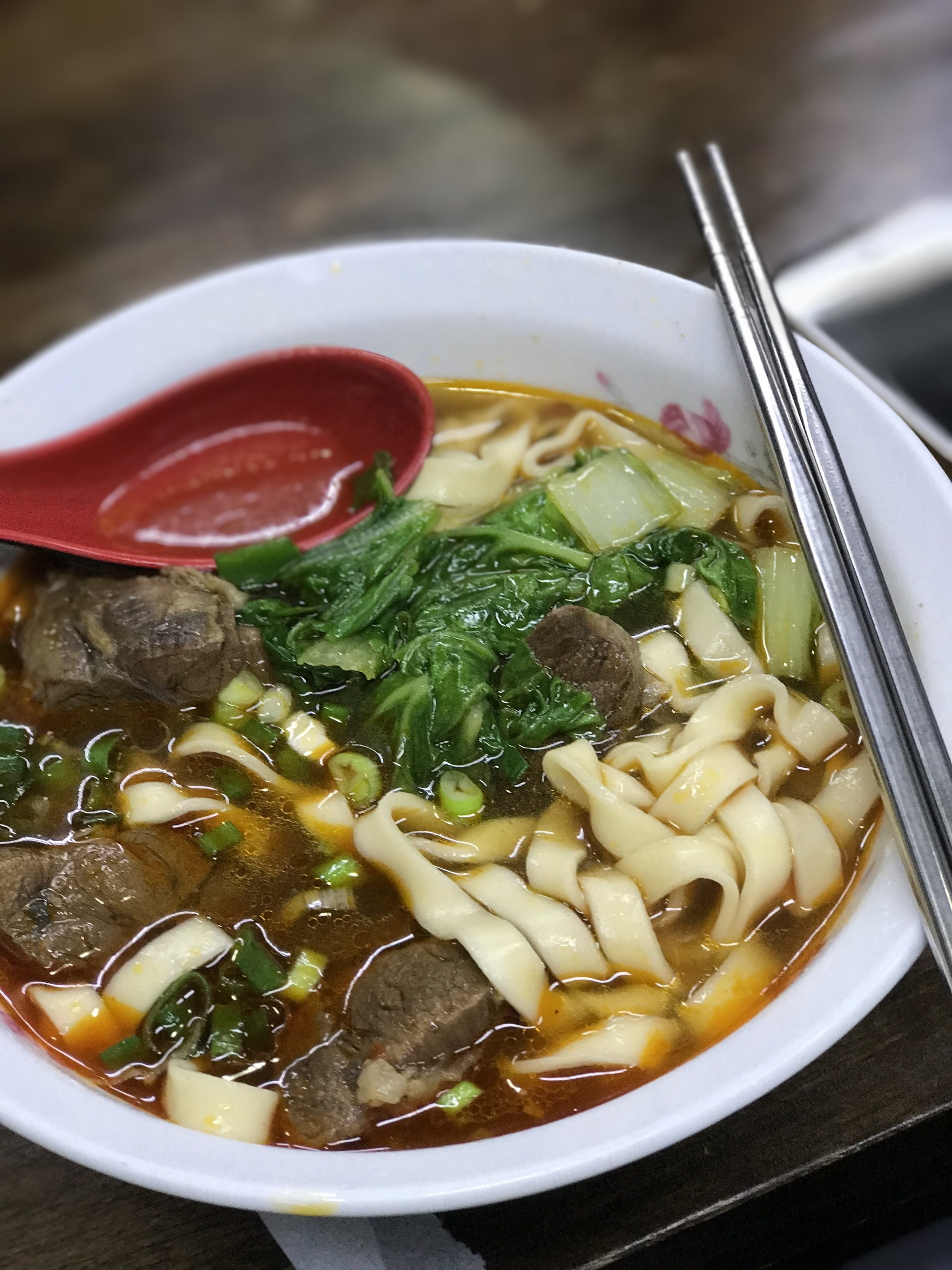 A hot bowl of beef noodle soup, opting for the spicy order, was a fantastic way to end our ride.