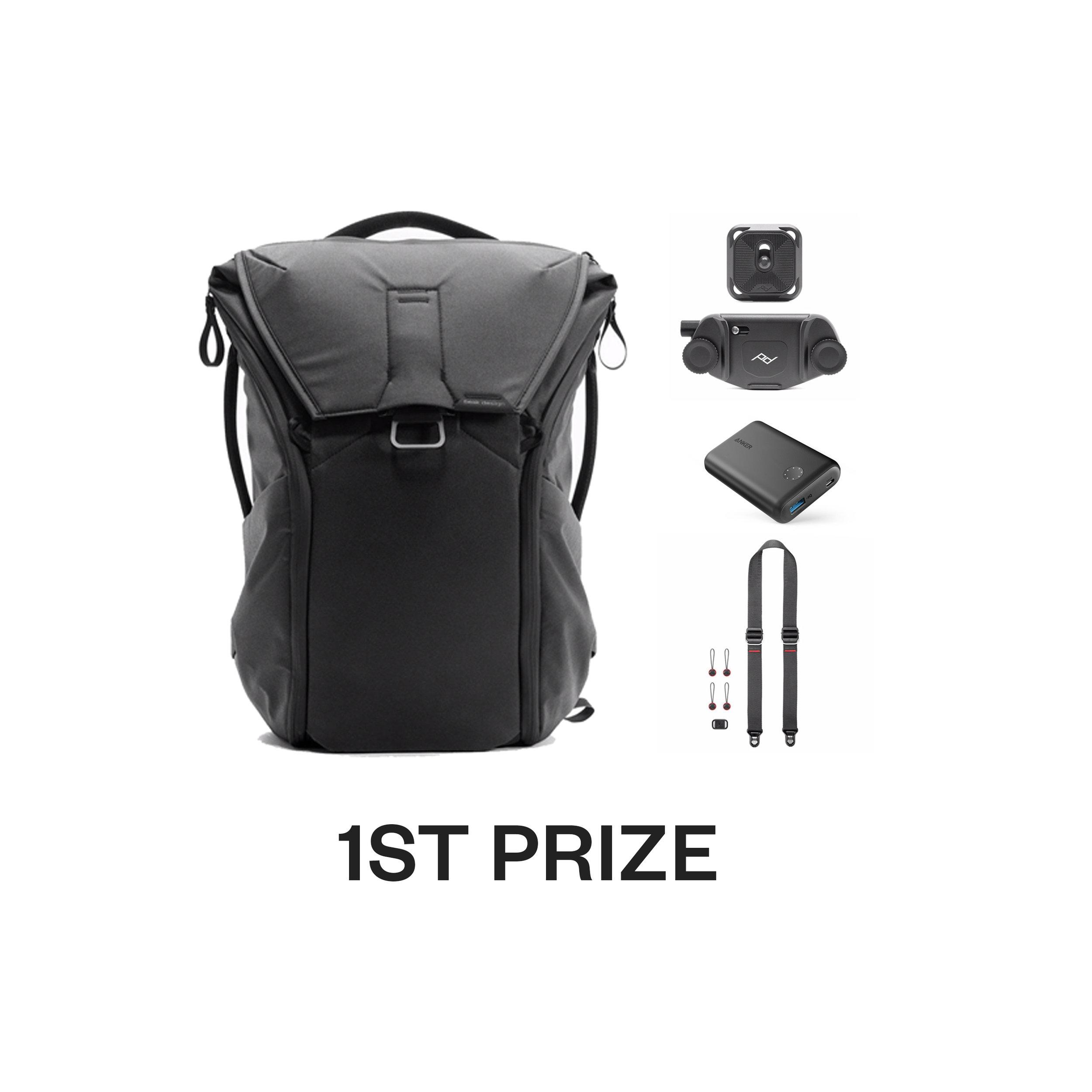 1st prize - Peak Design Urban Kit including:Everyday Backpack (Black)Slide lite Camera StrapCapture Camera ClipAnker PowerCore II 10,000mAh portable battery