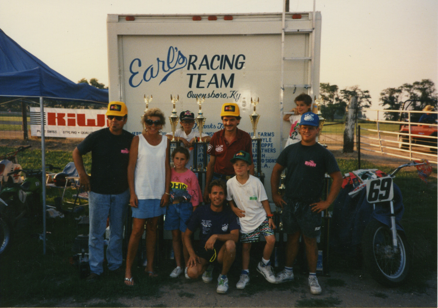 The Hayden wrecking crew poses with their trophy haul behind the family box van. ( Hayden family photo )