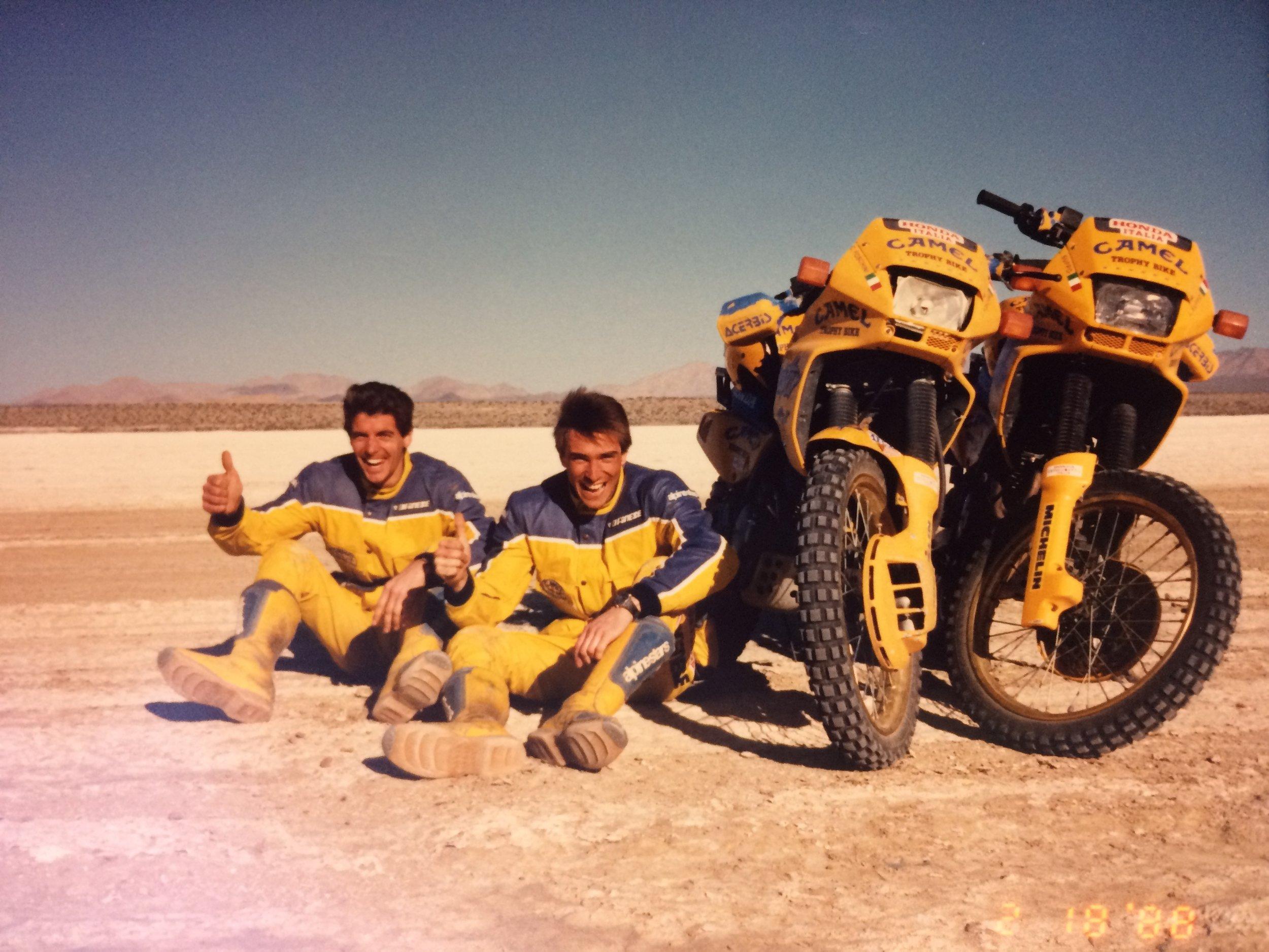 Livio Suppo (right) with teammate Claudio Foschini on El Diablo dry lake near San Felipe, in Baja, Mexico.  Photo by Scott Cox / Resmarket