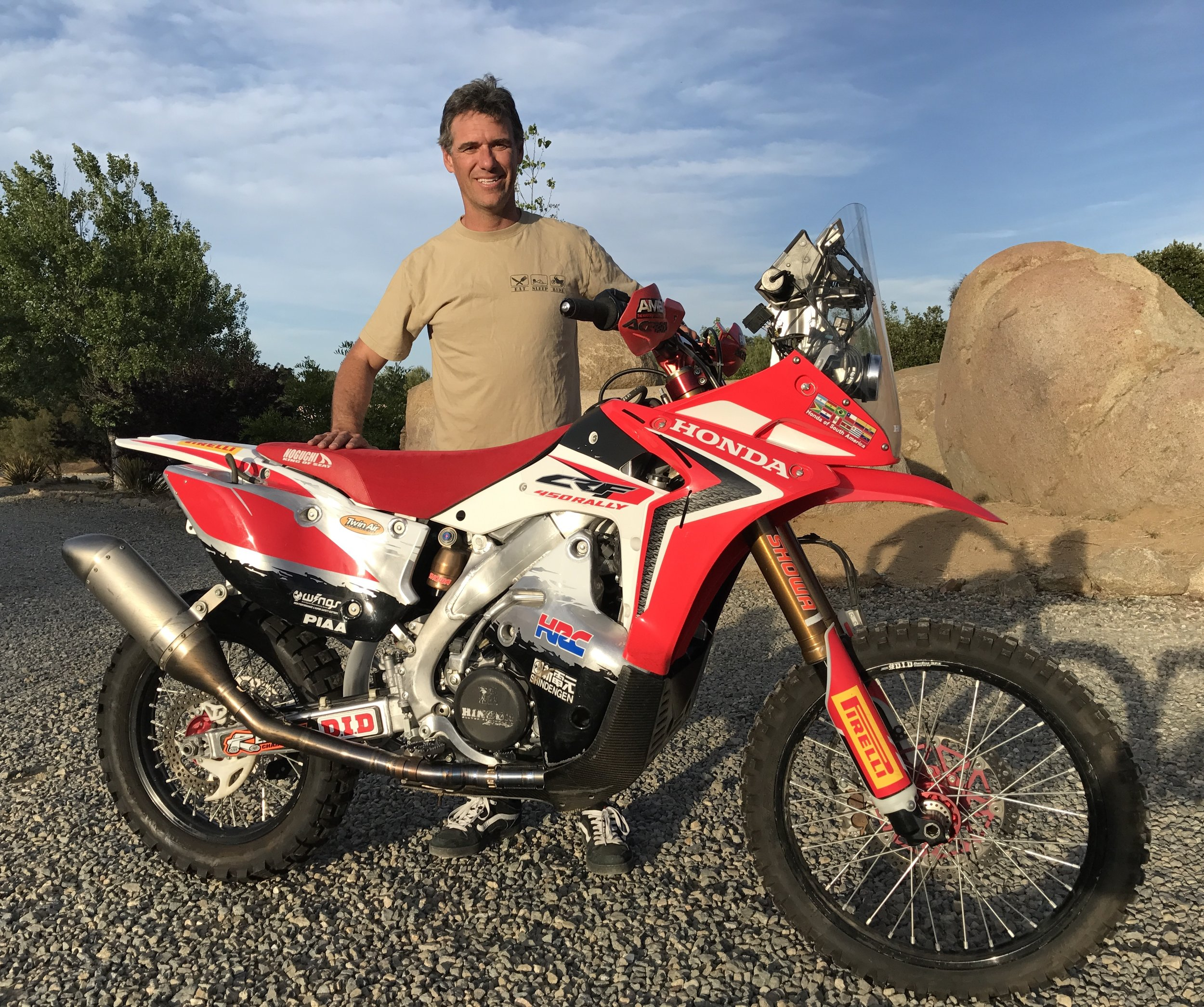 The author with the development bike he raced in the 2013 Dakar Rally. (CJ photo)